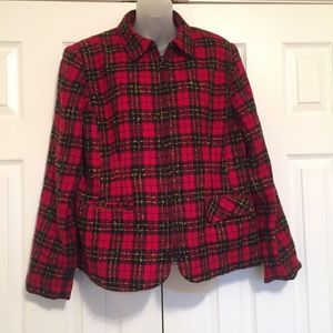 Sag Harbor Jacket Size 16 Plaid Blazer Red Black